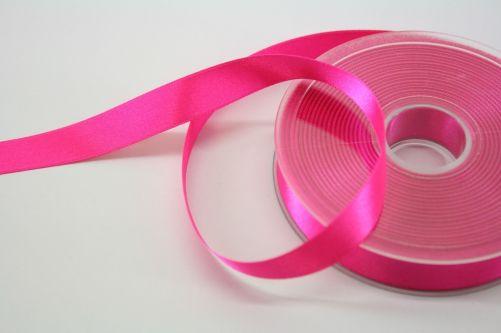 Satijnlint op rol fluor roze 15 mm