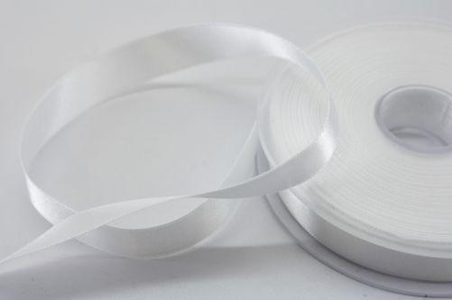 Satijnlint op rol wit 15 mm