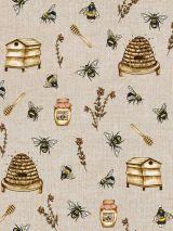 Bedrukte stof bijen en honing