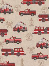 Bedrukte stof brandweerwagens
