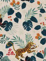 Bedrukte stof tijger botanisch
