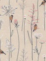 Bedrukte stof vogels en bloesem