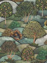 Bedrukte stof digitale print art deco bomen