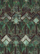 Bedrukte stof digitale print art deco groen