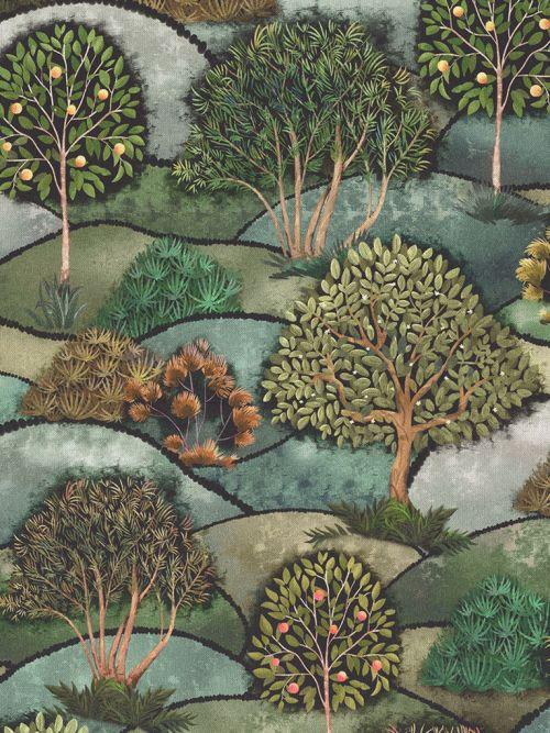 Bedrukte stof digitale print artdeco bomen