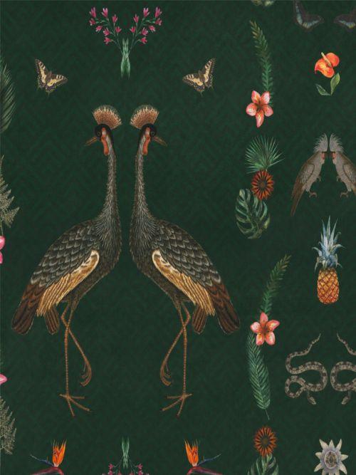 Velours stof digitale print  kraanvogel