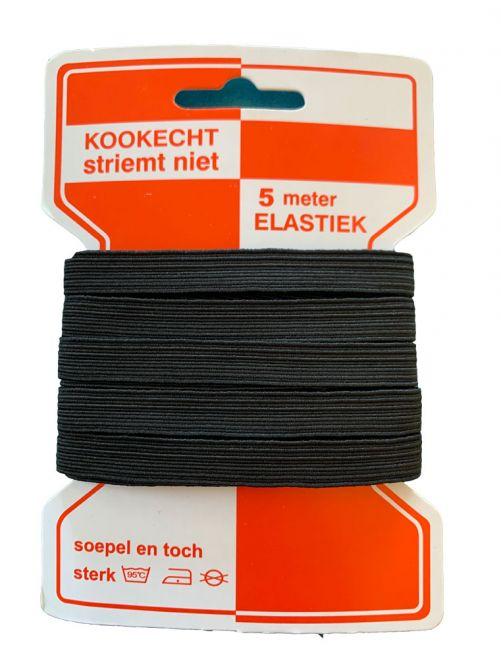 Elastiek zwart 5 meter 10 mm