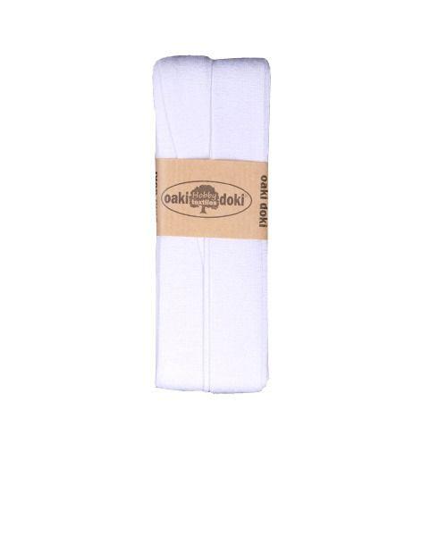 Oaki Doki elastisch biaisband jersey wit kleurcode 300